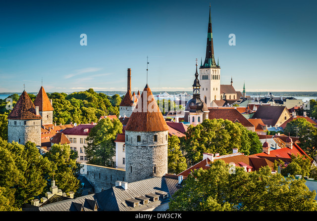 Tallinn, Estonia old city view from Toompea Hill. - Stock Image
