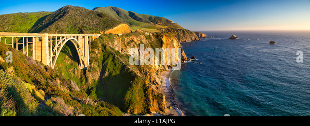 Panoramic View of the Big Sur Coast at the Bixby Creek Bridge, Monterey County, California, USA. - Stock Image