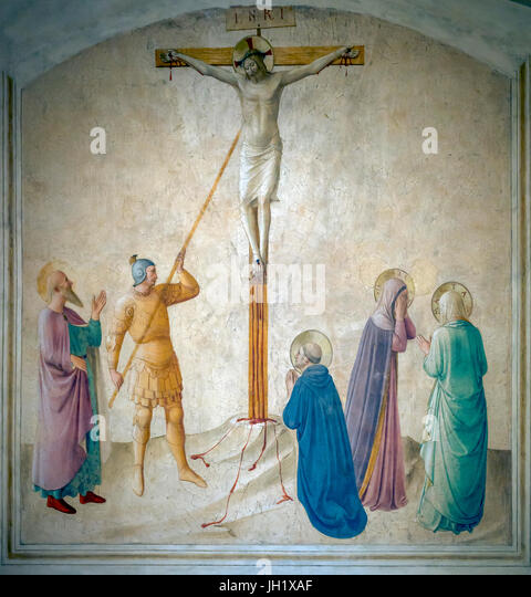 Crucifixion with the Virgin Mary with Martha, and Saints Mark, Dominic and Longino, Cell 42, by Fra Beato Angelico, - Stock Image