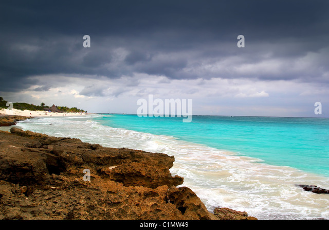 hurricane tropical storm beginning Caribbean sea dramatic sky Tulum - Stock Image