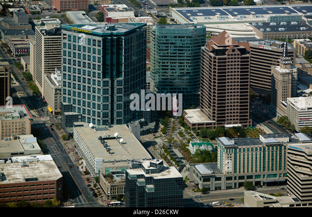aerial photograph downtown office towers, Salt Lake City, Utah - Stock Image