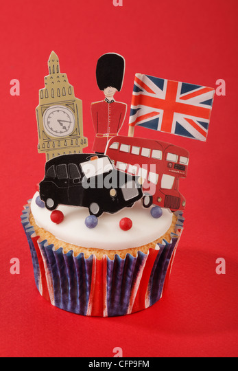 BRITISH CELEBRATION LONDON CUPCAKE - Stock Image