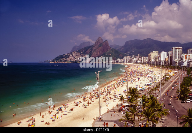 Impanema, Rio de Janeiro, Brazil the most famous beach in South America, crowded with tourists at Carnival season - Stock Image