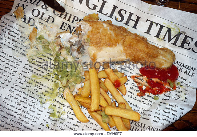 Fish and chips paper stock photos fish and chips paper for Fish and chips newspaper
