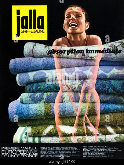 1970s advertisement advertising towels by Jalla Griffe Jaune in old vintage French magazine circa 1972 - Stock Image