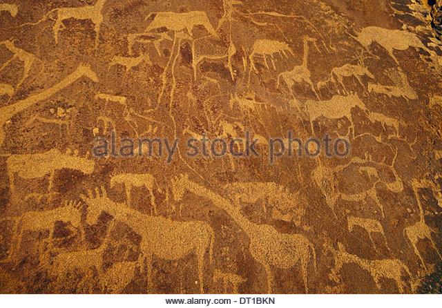 Uibasen Conservancy Damaraland Namibia. Historic Rock art engravings Twyfelfontein Namibia - Stock-Bilder