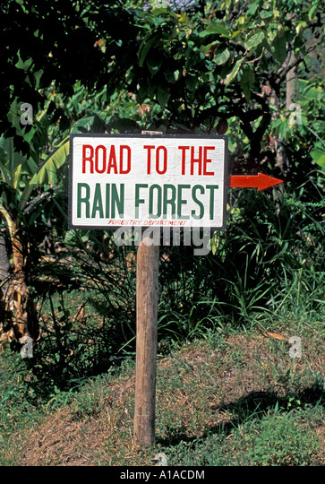 St Lucia  sign Road To The Rain Forest - Stock Image