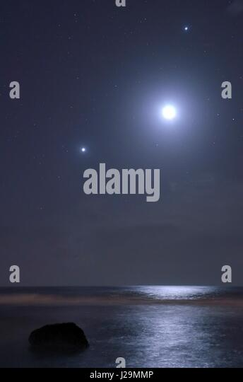 Reunion island, planetary conjunction on the West Coast - Stock Image
