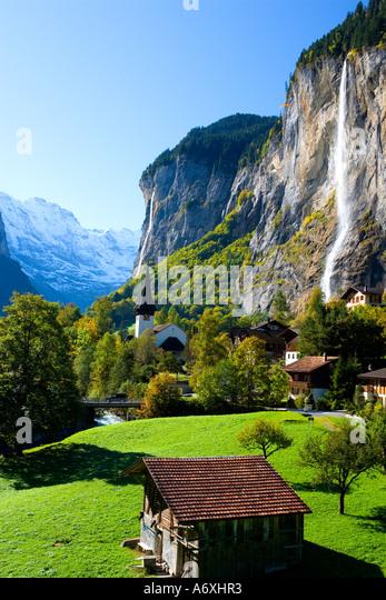 Switzerland Berner Obeland Staubbach falls Lauterbrunnen - Stock-Bilder