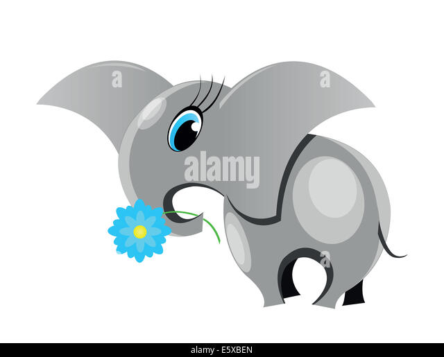 Cute cartoon elephant.  All in a single layer. - Stock Image