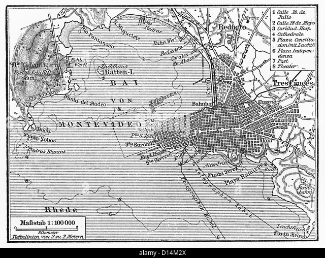 Vintage map of Montevideo at the end of 19th century - Stock Image