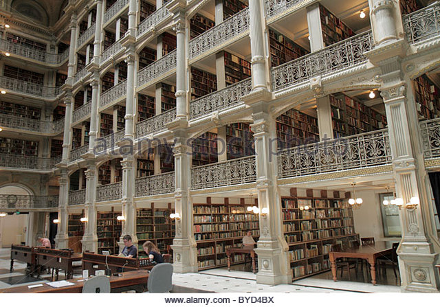 Maryland Baltimore Mount Mt. Vernon Historic District The Johns Hopkins University Peabody Institute Library 1852 - Stock Image