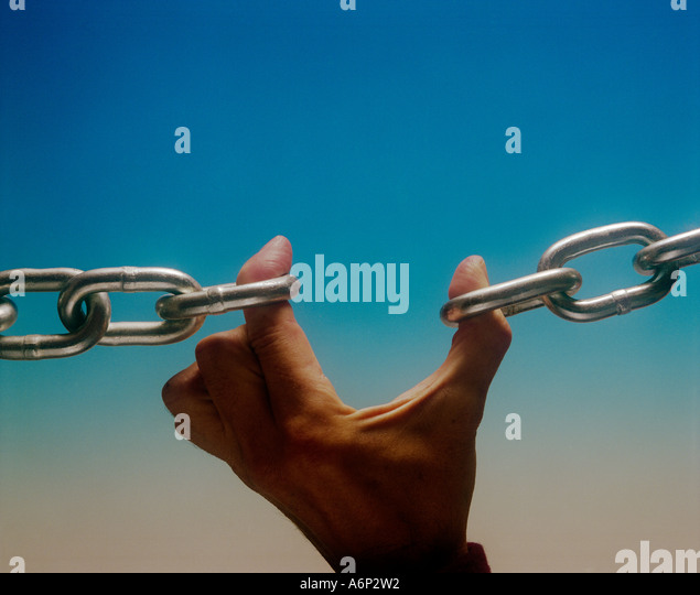 A broken ink in a chain and the weakest link - Stock Image