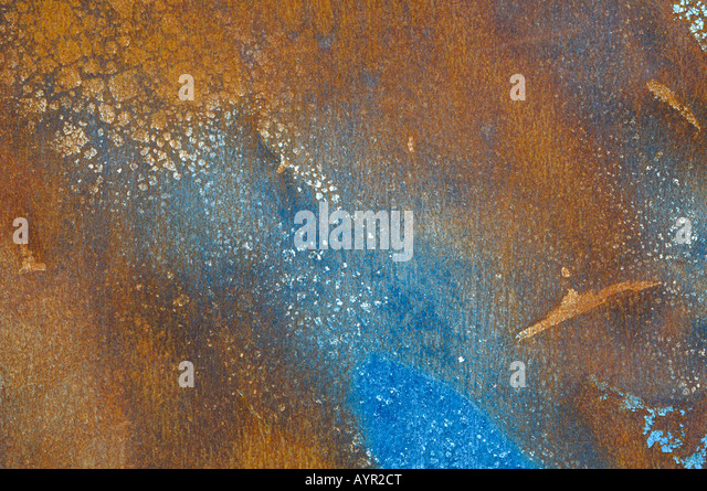 Corroded blue metal surface - Stock Image