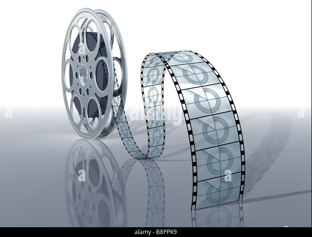 Illustration of a movie reel and film on a shiny surface - Stock-Bilder
