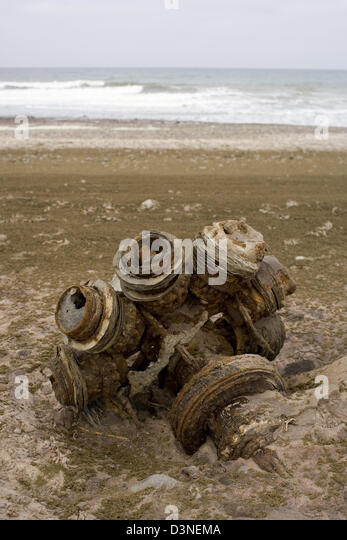 Wreckage of a Ventura 1942 Bomber on the Skeleton Coast, Namibia - Stock Image