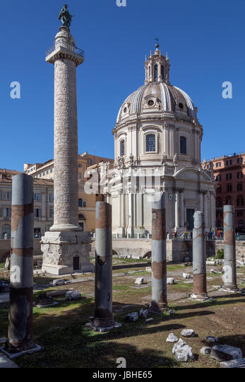 Trajan's Column (Collonna Traiana) a Roman triumphal column in Rome, Italy, that commemorates Roman emperor - Stock Image
