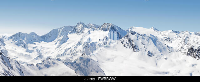 Panoramic View of the Austrian Alps from Hochgurgl in Austria - Stock Image