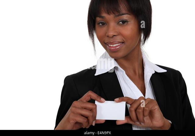 black businesswoman showing visit card - Stock Image
