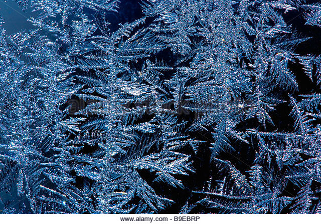Close up of frost sparkling on a windowpane at minus 20 degrees centigrade - Stock Image