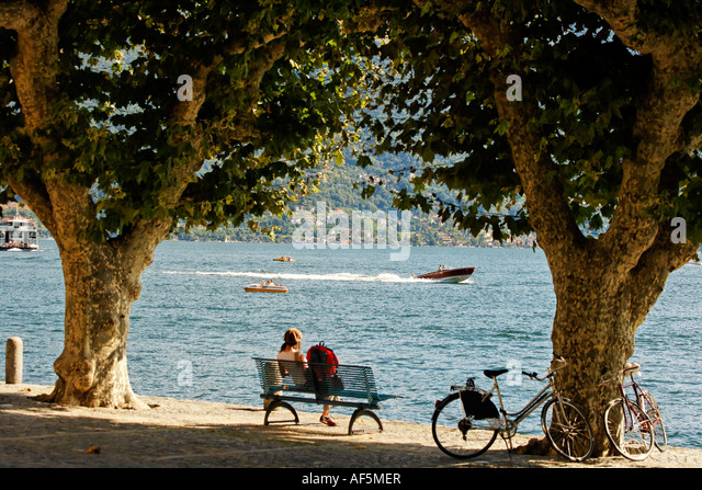 Switzerland Ticino Ascona lake Promenade bicylces - Stock Image