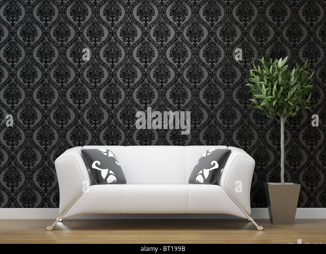 interior design of white sofa on black and silver wallpaper background with copy space - Stock Image