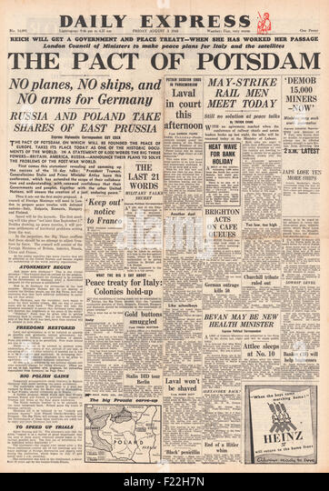 1945 Daily Express front page reporting Allies Reach Agreement Reached at Potsdam Conference - Stock Image