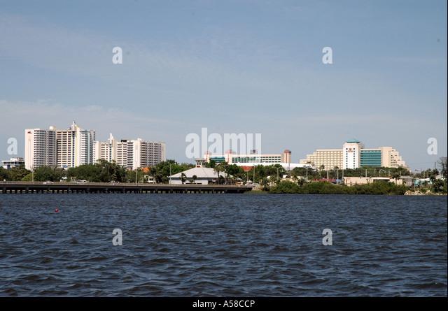 Daytona Beach Florida, skyline from Halifax River - Stock Image