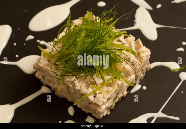 Marinated chicken Tartar with yogurt, dill, celery and turnip - Stock Image