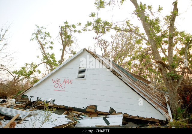 Upper level of residential house on ground amidst wreckage, aftermath of Hurraine Katrina, Biloxi, USA - Stock Image