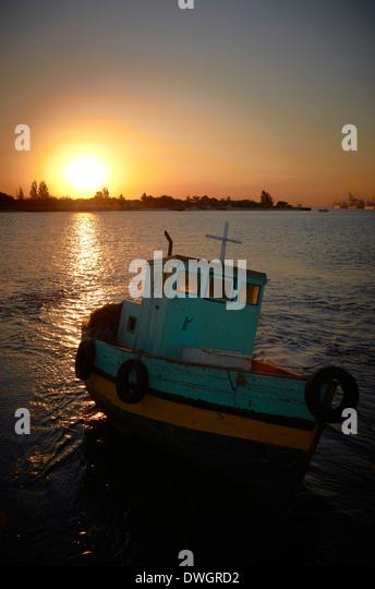 Boat at sunset, Catembe, Maputo, Mozambique - Stock Image
