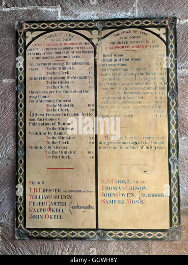 St Marys & All Saints Church Gt Budworth Interior, Cheshire, England,UK - Fees - Stock Image