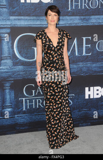 April 10, 2016 - Hollywood, CA, United States - 10 April 2016 - Hollywood, California - Lena Headey. Arrivals for - Stock Image
