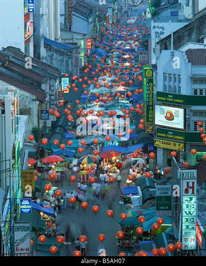 Elevated view of night market Jalan Petaling Chinatown Kuala Lumpur Malaysia Southeast Asia Asia - Stock Image