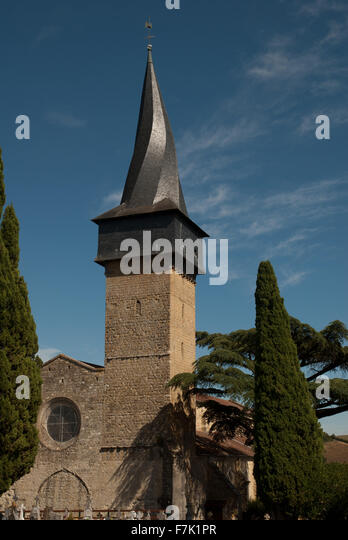 Spiral spire, Barran church, Gers, France - Stock Image
