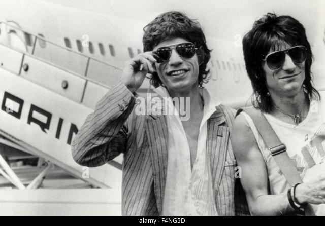 Mick Jagger and Ron Wood, Rolling Stones, musicians, UK - Stock Image