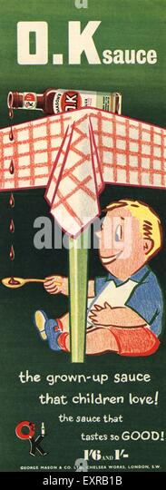 1950s UK OK Sauce Magazine Advert - Stock Image