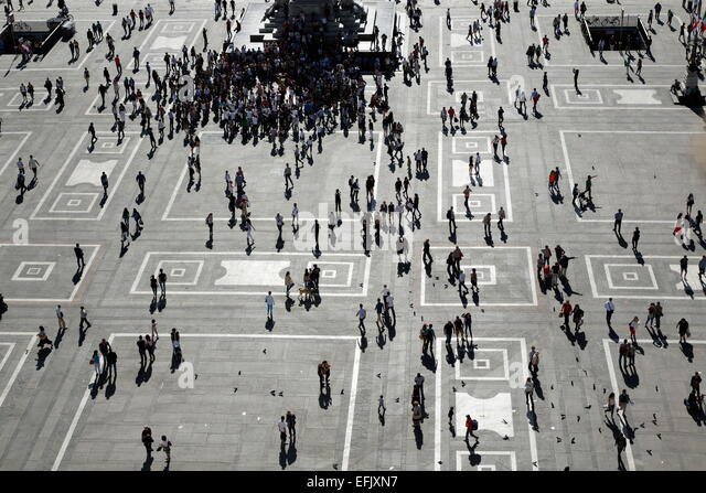 View to Piazza del Duomo, Milan, Lombardy, Italy - Stock Image