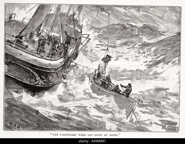 abandon ship derrick hoist lower storm sink lost desert sail boat gale wind tempest wave foam abeam lifeboat rowing - Stock Image