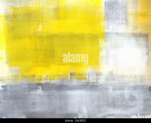 Grey and Yellow Abstract Art Painting - Stock Image
