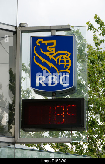 Royal Bank of Canada RBC sign and digital air temperature in degrees Celsius, Vancouver, BC, Canada - Stock Image