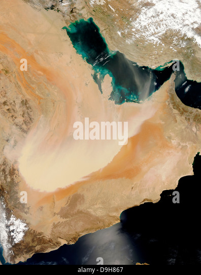 Satellite view of a dust storm in Saudi Arabia. - Stock Image