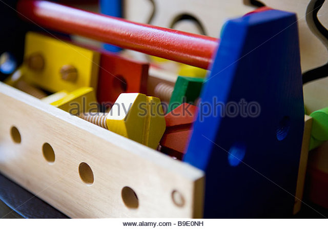 Childs wooden toolbox - Stock Image