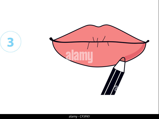 Step by Step Make Up Illustrations showing how to make lips look fuller Step Applying lip liner - Stock Image