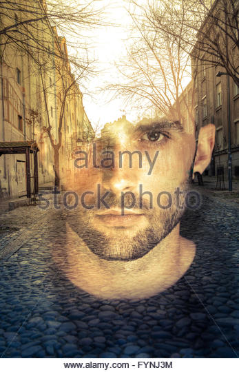 Double exposure image of man, imagination concept - Stock Image