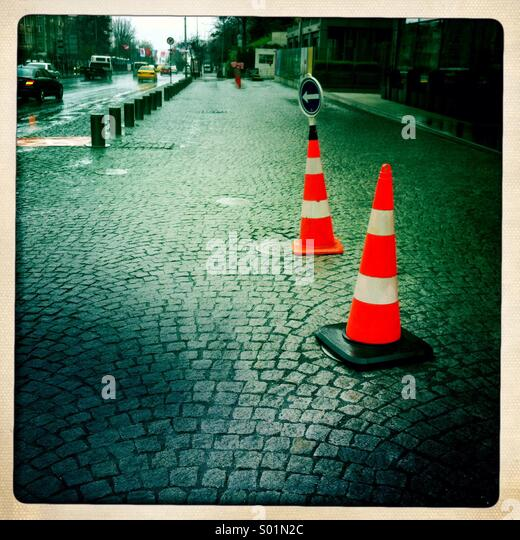 Traffic cones on the street - Stock Image