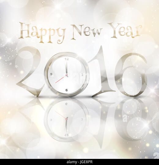 Happy New Year background with clock design - Stock Image
