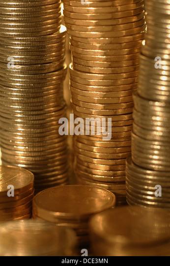 Stacks Of Loonies - Stock Image