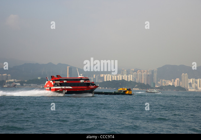 madeira hydrofoil macau ferry crosses belchers bay in victoria harbour hong kong hksar china asia - Stock Image