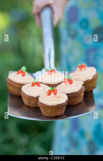 Carrot cupcakes on garden spade - Stock Image